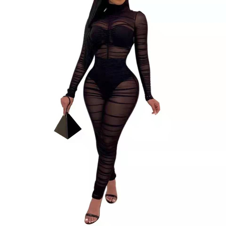 Black Draped Sheer Mesh Ruched Jumpsuits High Neck Long Sleeve See Through  Costumes Party Club Jumpsuit Long Pant Bodysuits