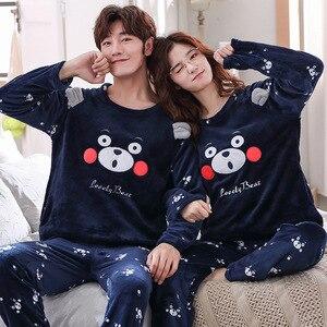 Image 2 - Çift pijama setleri kalın sıcak kış pazen pijama pijamalar erkekler ve kadınlar sonbahar konfor uzun kollu pijama takım gecelik