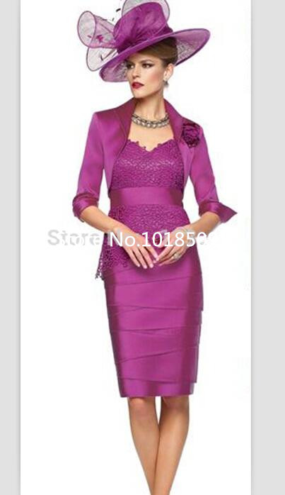 Fuchsia Lace And Chiffon V-Neck Knee Length Sheath Mother Of The Bride Dresses Mother Dress With Jacket Wedding Party Dress
