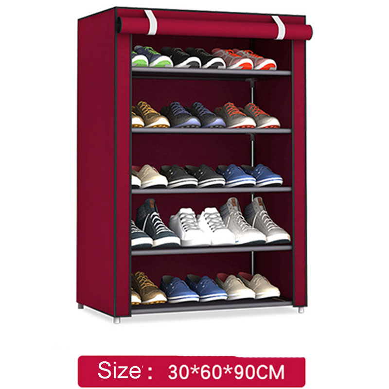 3-7 Layer Folding Portable Non-woven Storage Shoe Rack Organizer Shelf Cabinet Home Furniture Closet Storage Display Rangement