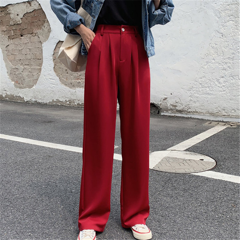 HziriP All-Match Plus Size Office Lady Fashion Feminine Autumn Solid Full-Length Pants High Waist Casual Loose Straight Trousers