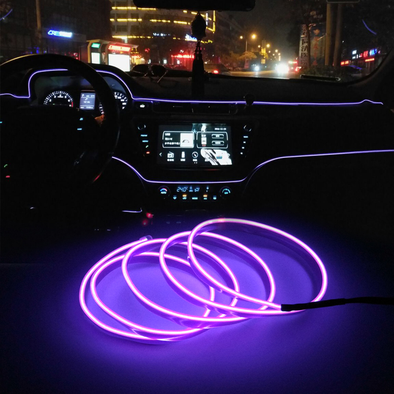 EL Wire car led strip <font><b>light</b></font> for Neon decoration <font><b>light</b></font> For <font><b>Ford</b></font> Fiesta <font><b>Focus</b></font> 2 Mondeo Citroen C4 C5 C3 Skoda Octavia Rapid Fabia image