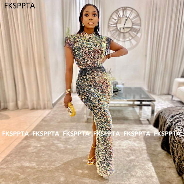 Shiny 2021 Long Prom Dresses O Neck Sheath Sparkly Sequin Formal Dress For Black Girls Custom Made Evening Party Gowns Cheap 1