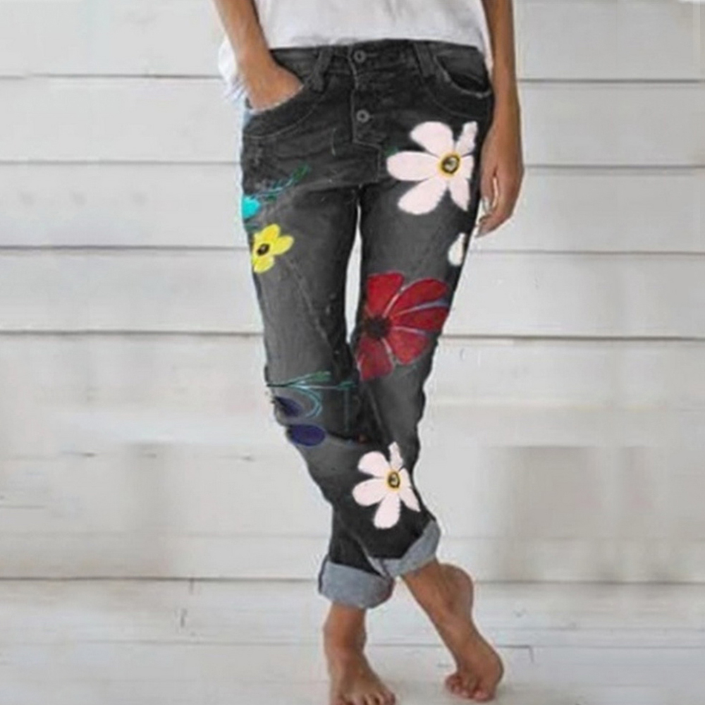 2020 Fashion Women Deep Blue Denim Pants Med Waist Jeans Skinny Slim Pant Denim Jeans Retro Bell Bottom Stretch Trouser