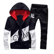 Sportswear Men set Letter Sportswear Sweatsuit Large Size Sporting Suits Tracksuit Male  Track Suit Jacket Hoodie With Pants