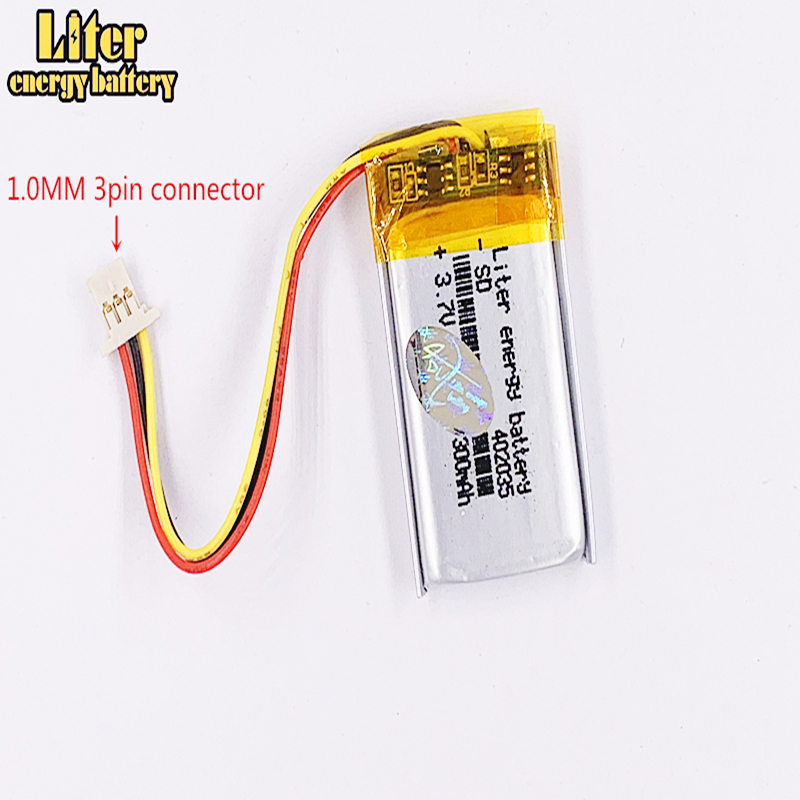1.0MM 3pin connector <font><b>402035</b></font> 300mah 3.7v DVR car recorder high-temperature li-po polymer rechargeable lithium <font><b>battery</b></font> image