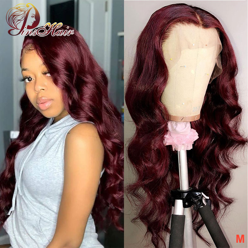 Pinshair 99J Body Wave Wigs Lace Front Wig Pre Plucked With Baby Hair Peruvian Hair 13*4 Lace Front Human Hair Wigs 150 Non-Remy