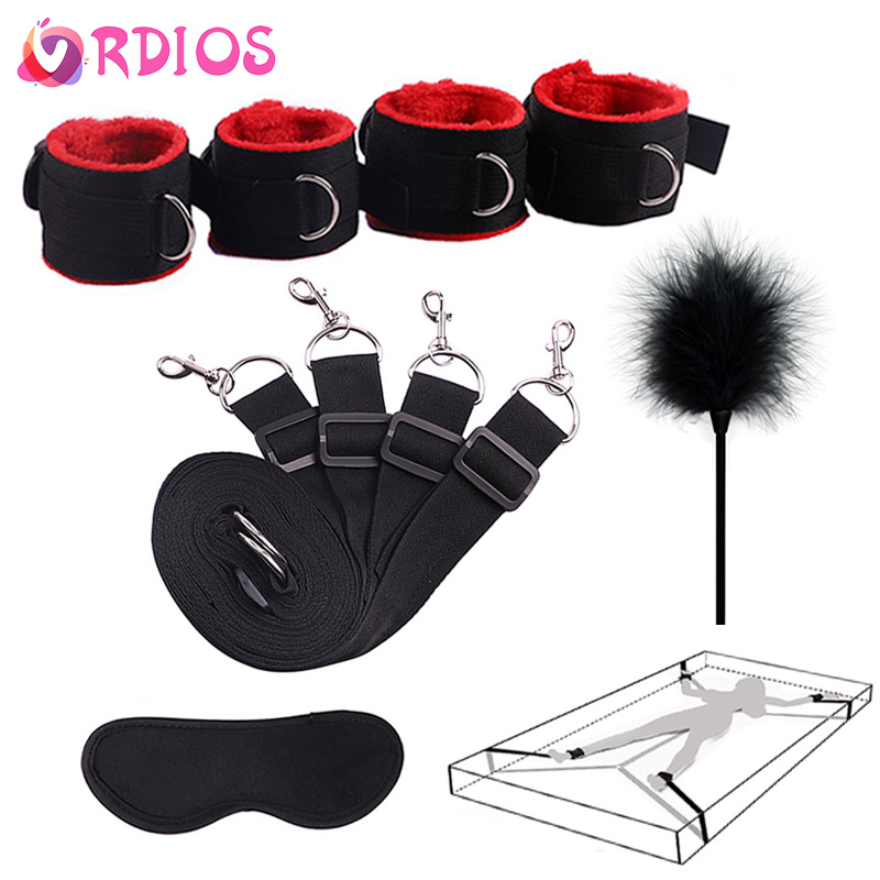 VRDIOS Sex Handcuffs With Mask And Flirting Feather Stick BDSM Bondage Set Under Bed Erotic Sex Toys For Women Couple Adult Game
