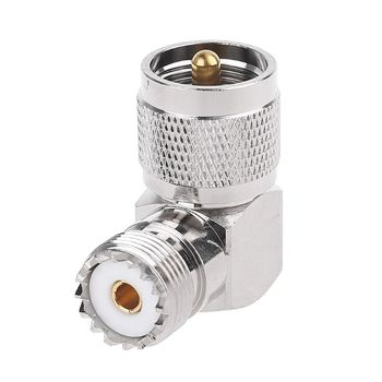 цена на RF Coaxial Coax Adapter UHF M Male to M Female Right Angle Converter Stainless Steel for Wireless LAN Devices