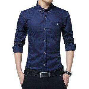 Image 2 - TFETTERS camisa manga larga para hombre, informal, de algodón, tejido Jacquard, Camisa ajustada, camisas de vestir, ropa para hombre