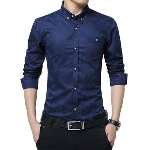 Image 2 - TFETTERS pamuklu akıllı rahat erkekler gömlek uzun kollu jakarlı örgü Slim Fit gömlek erkekler pamuk erkek gömlekler erkek giysileri