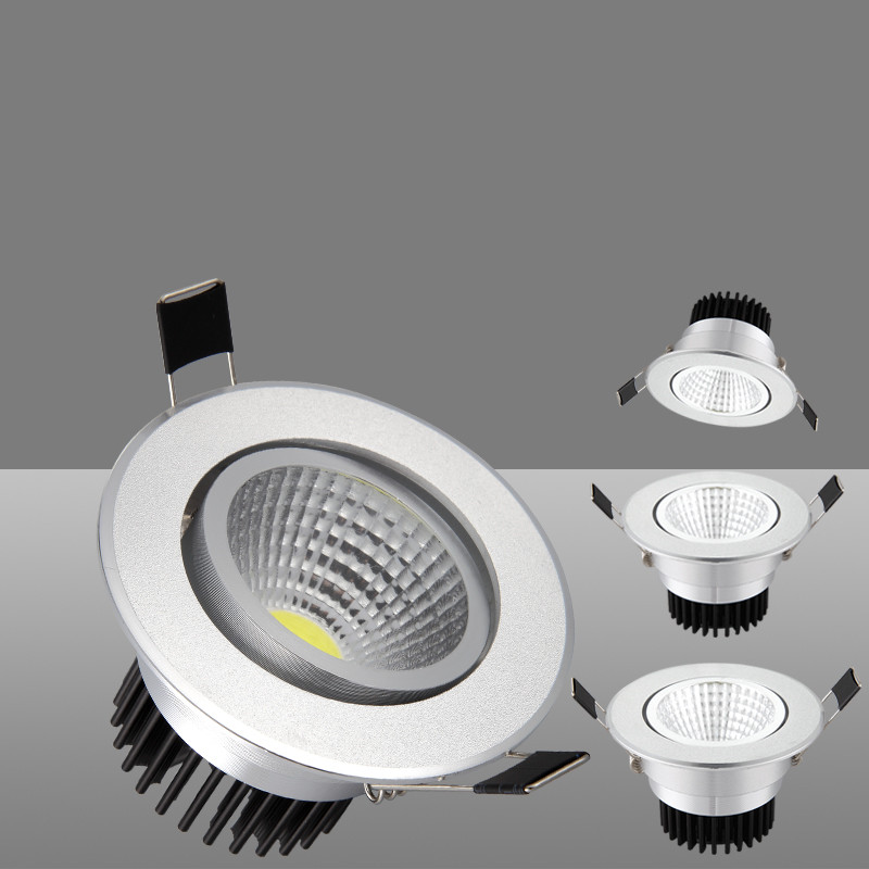 Round LED Recessed Downlight Dimmable 3W 5W 7W 12W 15W 20W Silver Dimmable LED Spot Light Led Ceiling Down Lamp AC 110V 220V