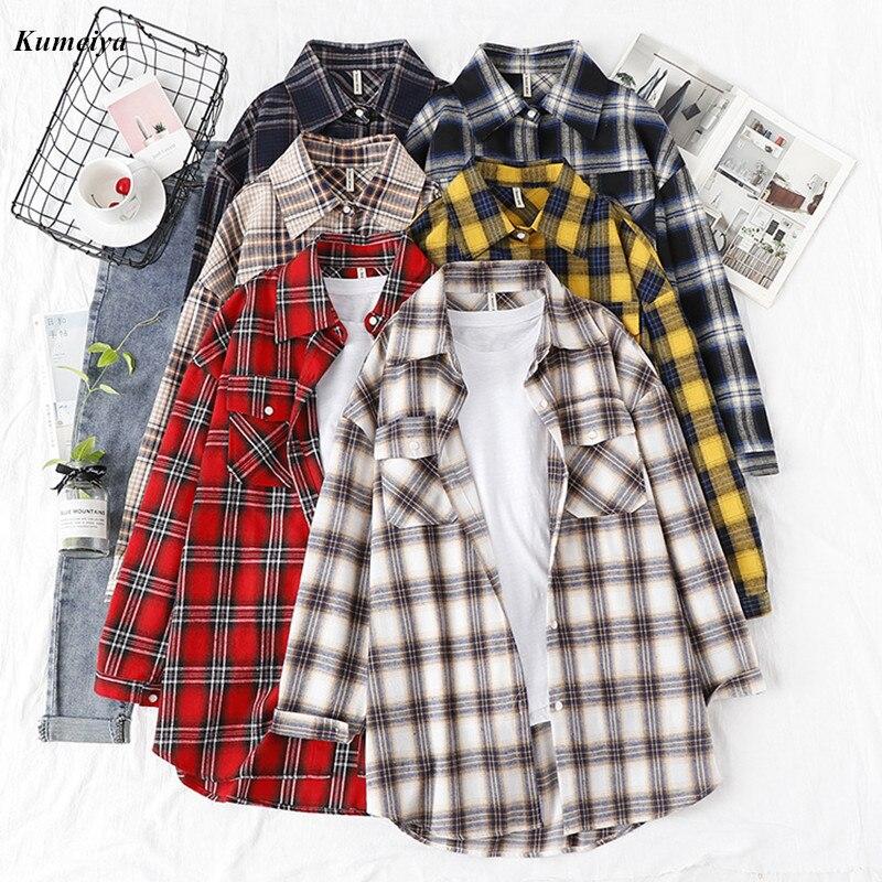 Camisa xadrez de flanela feminina, blusas retrô e tops femininos de algodão, roupa solta, dois bolsos, outono 2020