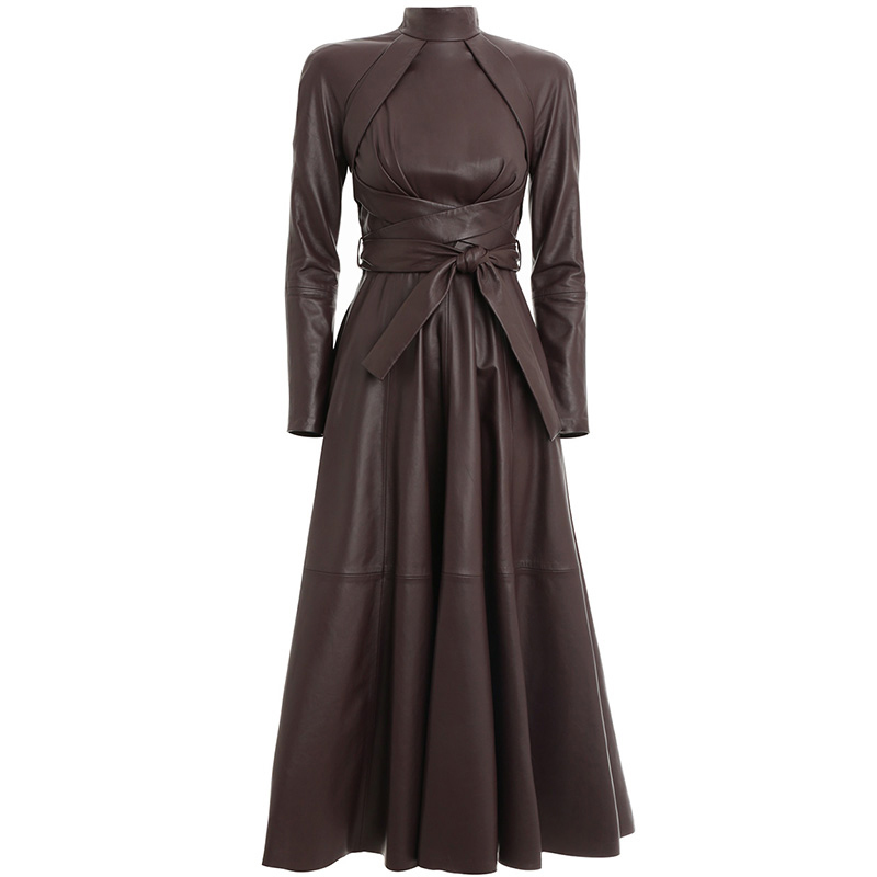 TWOTWINSTYLE Leather Autumn Dress Women Stand Collar Long Sleeve High Waist Lace Up Solid Midi Dresses Female 2019 Fashion New