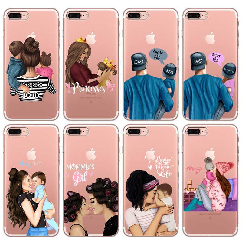 Coque pour iphone, compatible modèles 6, 7, X, XS Max, XR, 11 Pro Max, 6, 7, 8 Plus, 5s, SE, maman, fille et garçon