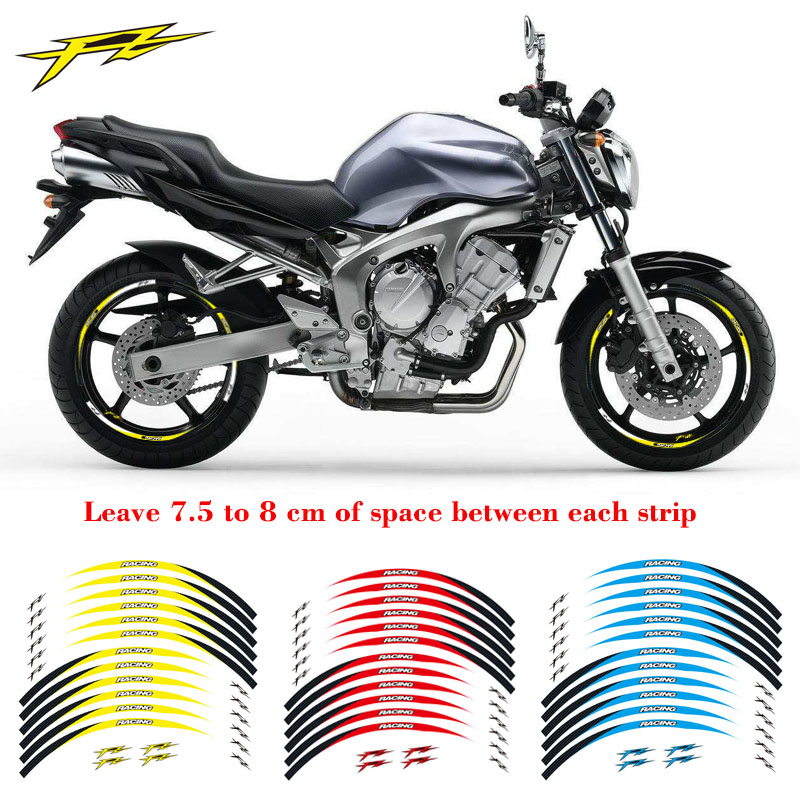 New high quality 12 pcs fit motorcycle wheel <font><b>sticker</b></font> strip reflective rim for yamaha fz1 fz6 <font><b>fz</b></font>-07 fz8 <font><b>fz</b></font>-09 <font><b>fz</b></font>-10 fzs1000 image