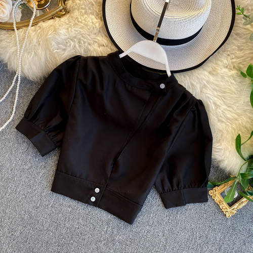 Women's Hollow Short Puff Sleeve Short Crop Tops Lady Round Neck Sexy Shirt  Camisas Mujer  Blusas Mujer De Moda Blouse K693 8