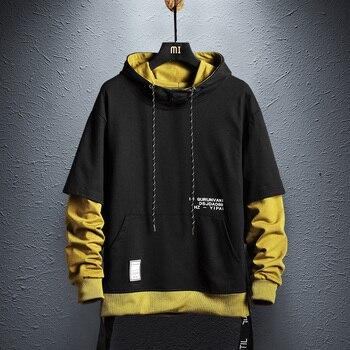 パーカートレーナーメンズヒップホッププルオーバーパーカーストリートカジュアルファッション服カラーブロックパーカー綿