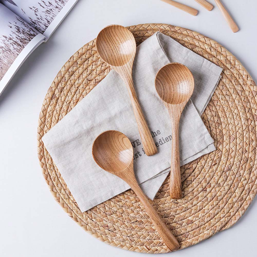 Wooden Spoon Soup-Teaspoon <font><b>Colher</b></font> Solid Wood Porridge Spoon Cuillere Cuchar Honey Coffee Creative Japanese-Style Green Tableware image