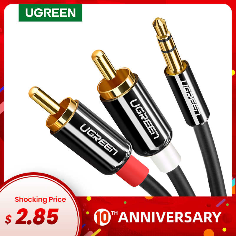 Ugreen Cavo RCA HiFi Stereo 2RCA a 3.5mm Cavo Audio AUX RCA Martinetti 3.5 Y Splitter per Amplificatori Audio home Theater Cavo RCA