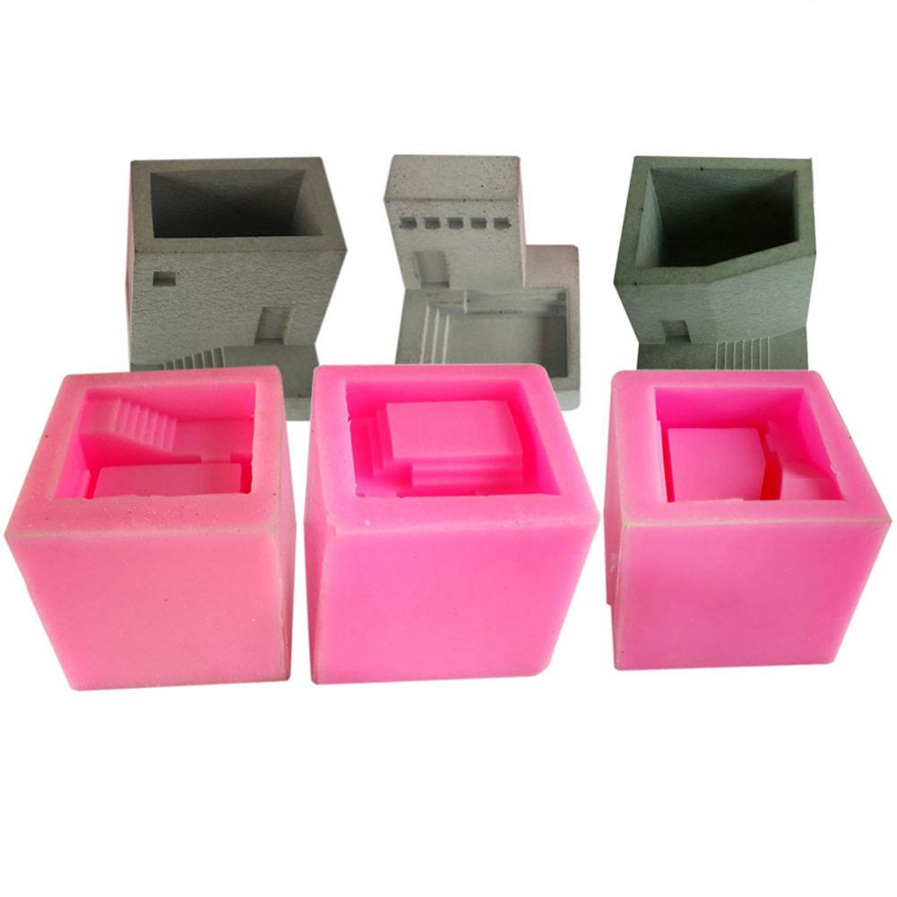 Small House Stairs Shaped Cement Pots Silicone <font><b>Mold</b></font> Nordic Style Stairs Type <font><b>Flower</b></font> <font><b>Vase</b></font> Mould image