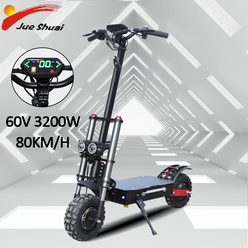 60V 3200W Dual Motor Powerful Electric Scooter with Seat 20AH Battery 11inch Off Road Tire Foldable patinete electrico e scooter