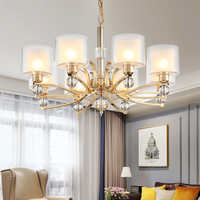 Electroplated gold Chandeliers Modern Antique gold Industrial stair Lighting fixtures 3/6/8/10 arms Brushed Nickel tube