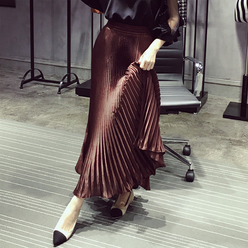 Pleated Skirt Lady 2020 Summer Korean-Style Bright Fabric Ankle-Length Silky Solid Elegant-Style Long Skirt Women