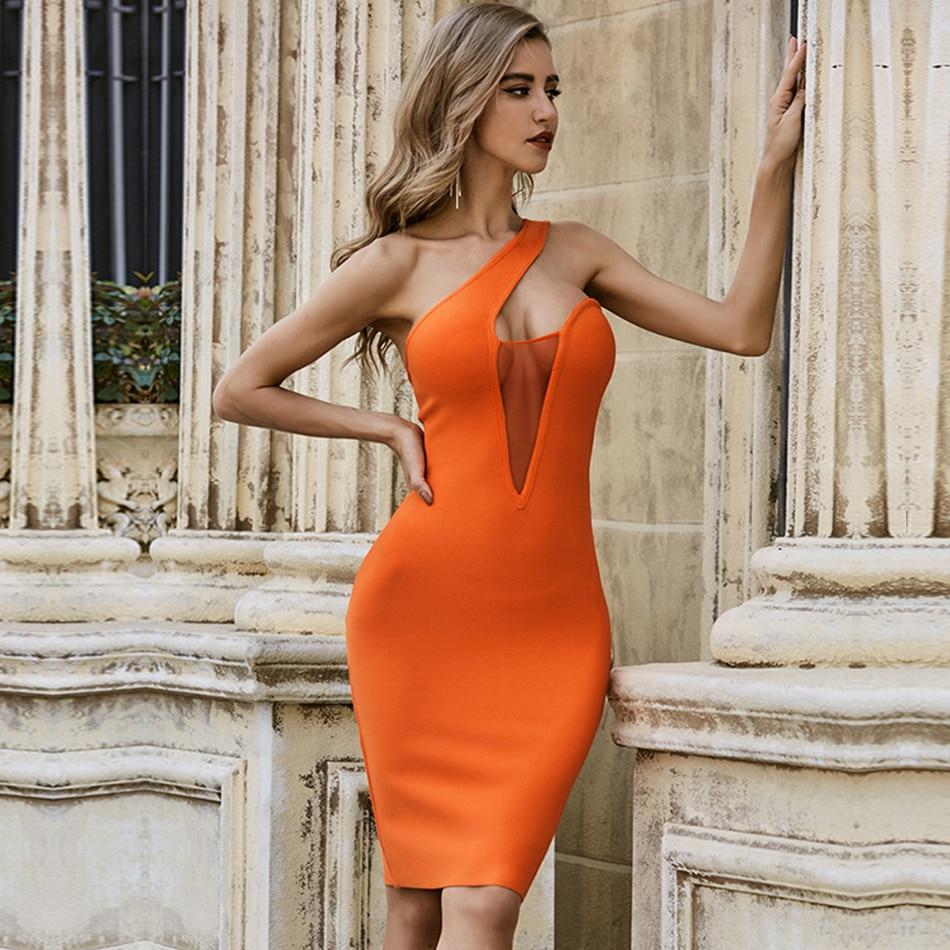 ADYCE 2021 nuevo verano naranja mujer sin mangas vestido vendaje vestido de encaje Sexy un hombro Club vestido de fiesta, de noche, Vestidos de celebridad