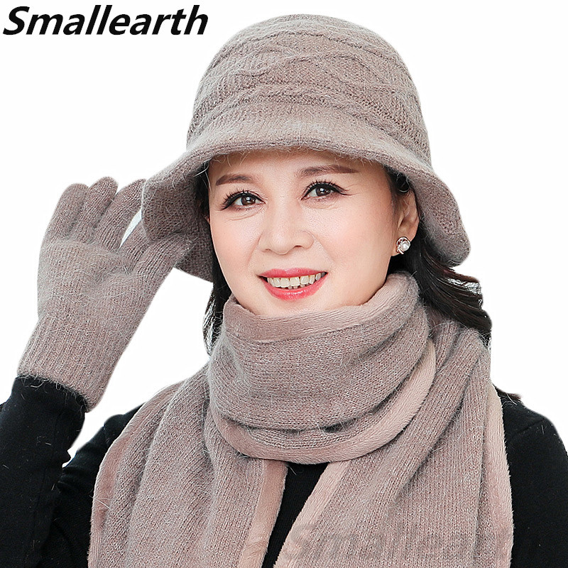 New Winter Women Rabbit Fur Hat Set Knitted Wool Winter Hat Scarf Gloves Set Female Lady Thick Warm Plush Cap Scarf For Mom Gift