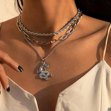 Multi-layer punk chunky chain necklace, women's necklace dragon pendant necklace party gift jewelry wholesale 2021