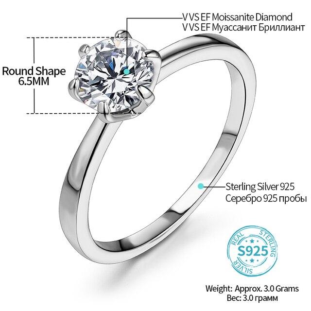 ATTAGEMS 1ct 2ct 3ct Moissanite Ring Round Brilliant Cut Diamond Test Passed Moissanite Diamond Solitaire Rings for Women 2