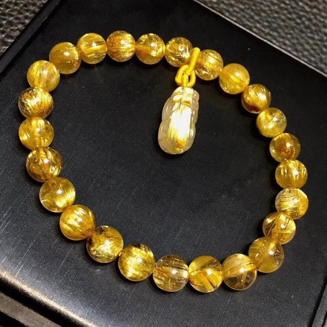 Genuine Natural Gold Rutilated Titanium Quartz Bracelet 7.5mm Woman Man Wealthy Clear Pi Xiu Pendant Carved Pendant AAAAA
