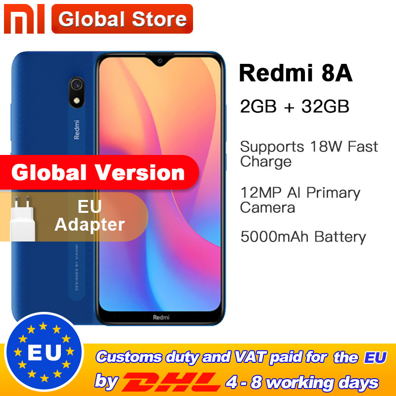 Global Version Xiaomi Redmi 8A 32GB 2GB Smartphone 5000mAh Snapdargon 439 Octa Core 12MP AI Camera Type-C