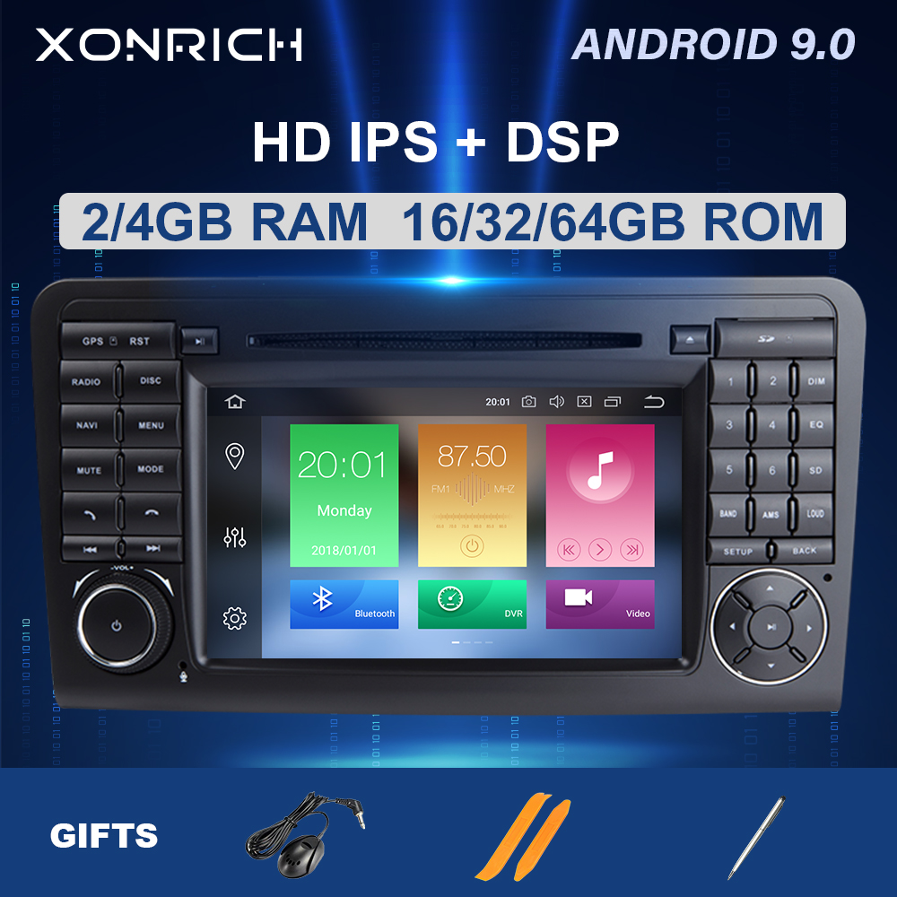 IPS DSP 64GB <font><b>2</b></font> <font><b>din</b></font> Android 9.0 Car DVD Player GPS FOR BENZ ML 320/ML 350/W164(2005-2012)GL Radio Multimedia Navigation head unit image