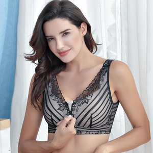 Image 2 - Funklouz乳房切除ブラジャーポケットブラジャーシリコーン人工乳房用90C乳がん女性人工おっぱいフロントジッパー