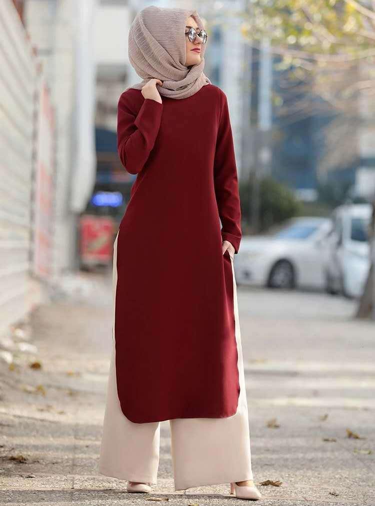 2 Piece Set Muslim Women Ramadan Long Top Wide Leg Pant Turkey Abaya Dubai Muslim Fashion Islamic Clothes Prayer Mat Hijab Dress