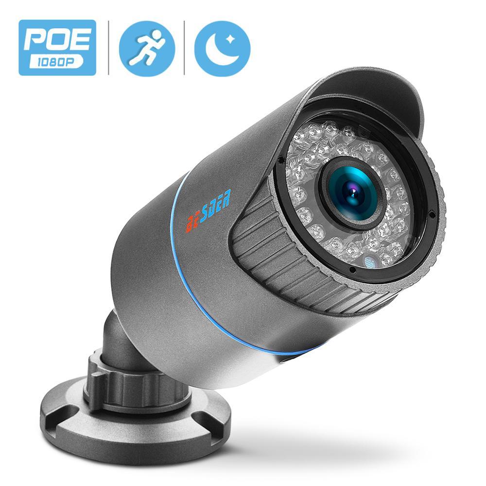 BESDER HD 1080P Outdoor Waterproof Bullet IP Camera Home Camera Motion Detect Night Vision ONVIF 2.0 P2P 48V PoE Security Camera