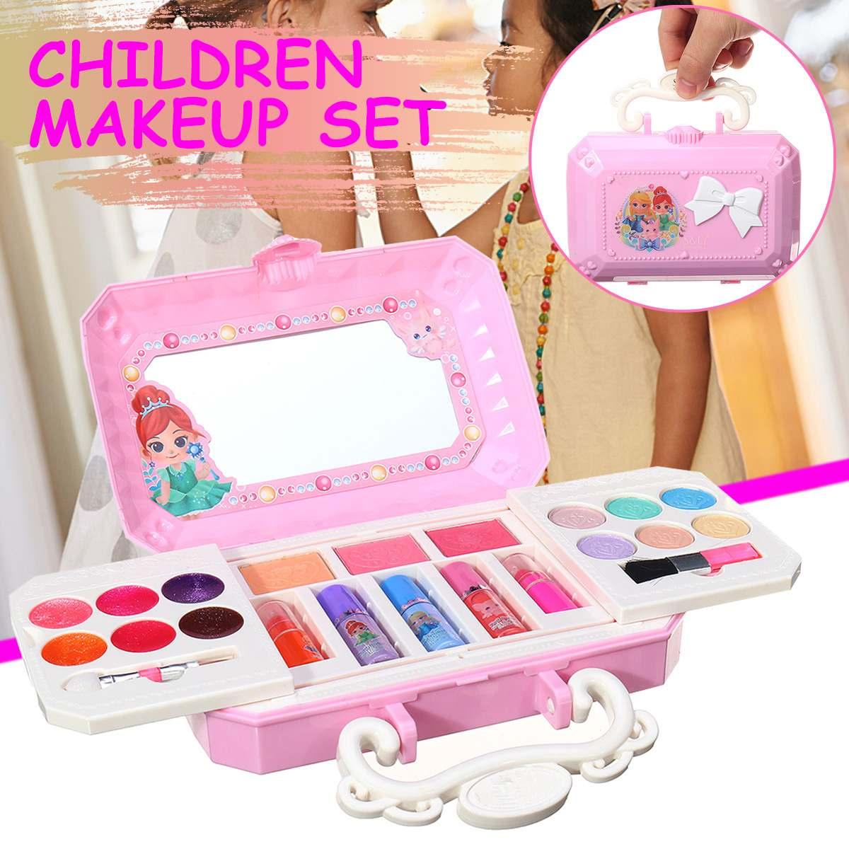 Girls Princess Cosmetics Set Toy Make Up Kits Cute Play House Children Gift Safe No Toxic For Girls Dressing Cosmetic Gift Box