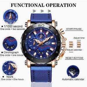 Image 3 - LUIK Nieuwe Heren Horloges Topmerk Luxe Grote Wijzerplaat Militaire Quartz Horloge Blauw Lederen Waterdichte Sport Chronograaf Horloge Voor Mannen