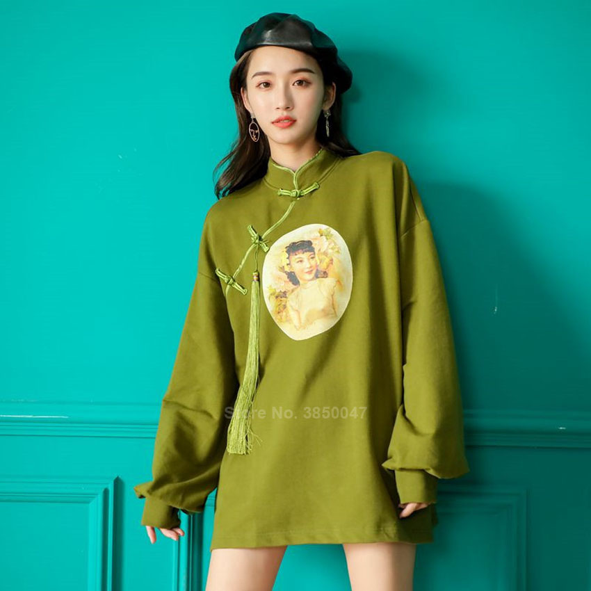 Fashion Chinese Costumes Cheongsam Dress Hoodies Plus Size Vintage Autumn Full Sleeve Sweatshirt For Girls Tops Oriental