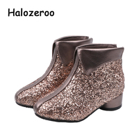 Winter New Kids Princess Boots Baby Girls Glitter Ankle Boots Children Sequin Warm Shoes Dance Brand Heels Fashion Soft Boots