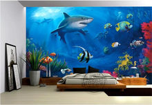 Custom photo 3d room wallpaper Non-woven mural sea world shark 3d wall murals wallpaper for walls 3 d decoration painting(China)