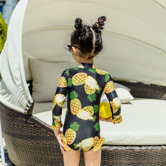 Pineapple Children Siamese Swimsuit GIRL'S Big Boy Princess Long Sleeve Sun-resistant Warm Quick-Dry GIRL'S Swimsuit