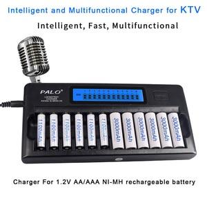 Image 2 - Palo 12 Slot Aa Batterij Oplader Quick Lading Ontlading Aaa Smart Lcd Oplader Voor 1.2V 2A 3A Aa Aaa oplaadbare Batterij Oplader