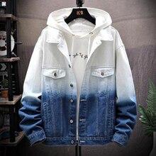 Men Gradient Jean Jackets Outerwear Autumn 2019 Fashion Denim Coats Ne