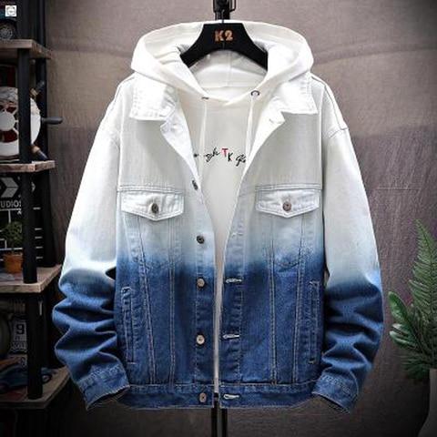 Men Gradient Jean Jackets Outerwear Autumn 2019 Fashion Denim Coats New Men Large Cotton Turn-down Collar Denim Jackets Size 5XL Pakistan