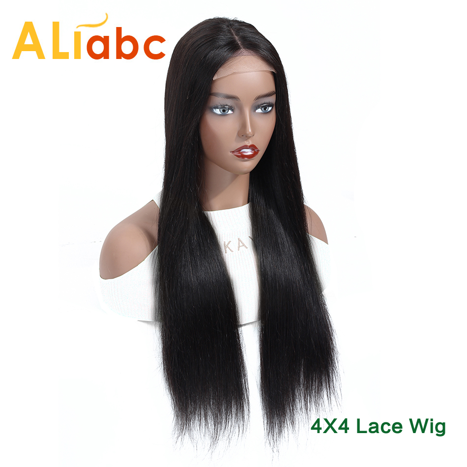 Aliabc Mongolian 4*4 Lace Closure Wigs 100% Human Hair Wigs For Black Women Remy Hair Straight Lace Wigs 150% Density