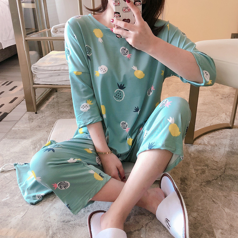 Southeast Asia Hot Selling Cloth Bag Pajamas Women's Three-quarter-length Sleeve Capri Pants Storage Bag Three-piece Set Pajamas