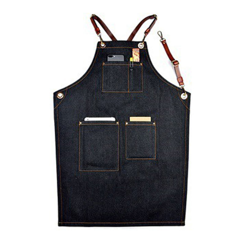 Barber Florist Chef Studio Uniforms Black Denim Bib Apron Leather Strap 4 Styles